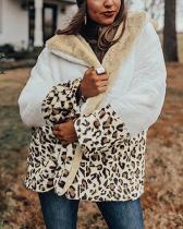 Women Leopard Print Fleece Shawl Collar Paneled Long Sleeve Coats
