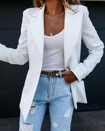Classic White Slim Fit All-match Blazers