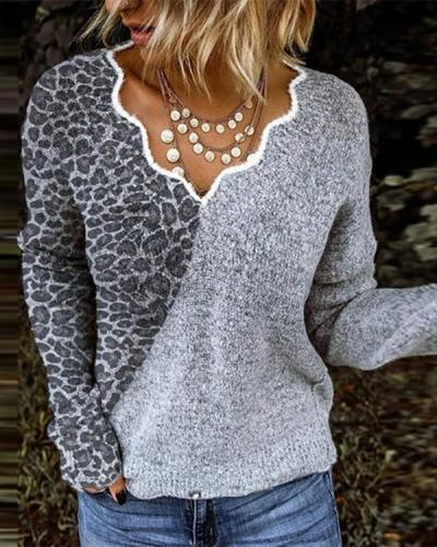 Women Exotic V Neck Long Sleeve Sweater