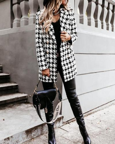 Fashion Contrast Plaid Double Breasted Blazers&Coats