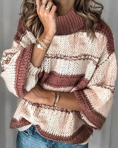 High Collar Long Sleeve Casual Loose Sweater Top
