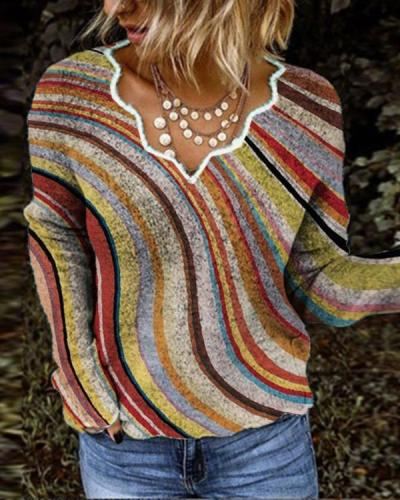 Women Exotic V Neck Long Sleeve Stripes Sweater
