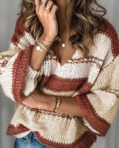 Fashion Casual Stripe V neck Long Sleeve Knit Sweaters