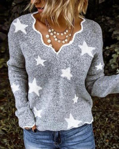 Grey Exotic V Neck Long Sleeve Sweater