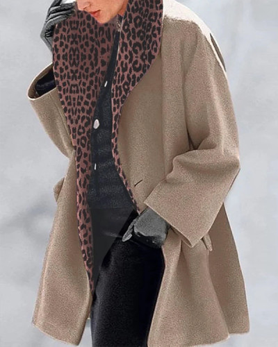 Vintage Leopard Print Lining Solid Overcoat