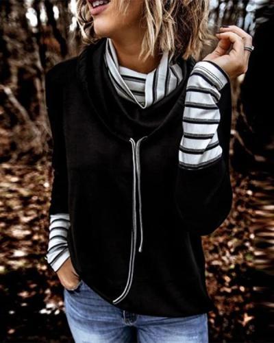 Black Cowl Collar Stripes Long Sleeve Cotton-Blend Shirts & Tops