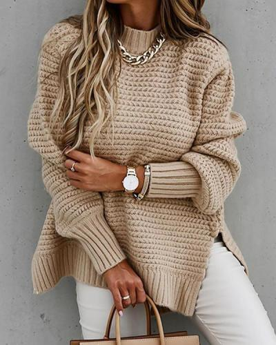Women's Casual Trendy Loose Side-slit Sweaters