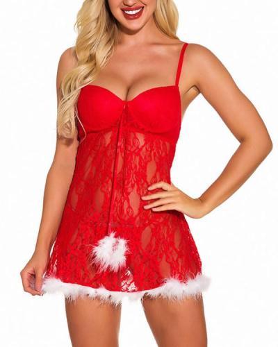 Women Christmas Lingerie Red Chemise Santa Nightie Lace Babydoll Strap Sleepwear