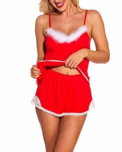 Red Christmas Plush Cami Shorts Lingerie Set Exquisite Design