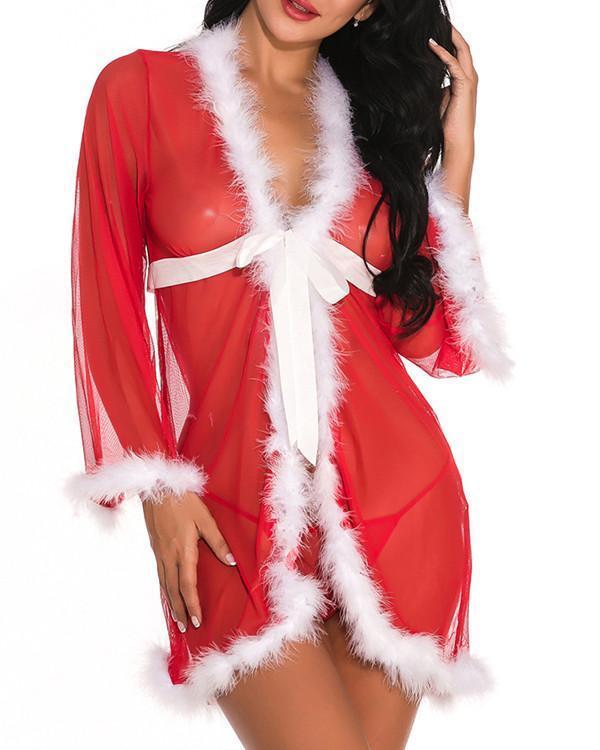 Gracious Red Long Sleeves Babydoll Christmas Mesh Breathable