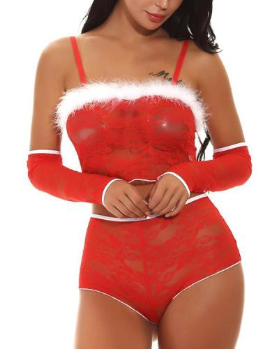 Daring Red Three Pieces Christmas Cami Bandeau Lace Lingerie