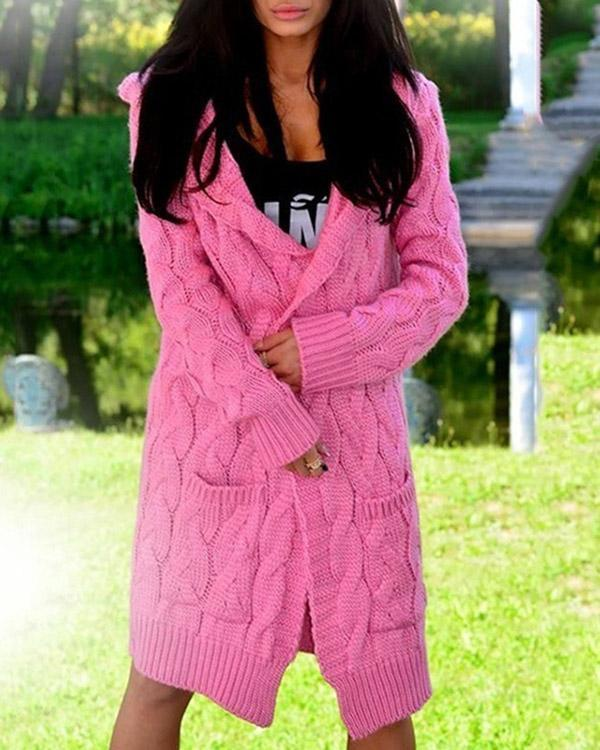 Ladies Fashion Knitted Sweater Cardigan Casual Coat