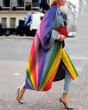 Women Colorful Geometric Print Long Coat