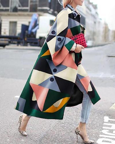 Women Stylish Color Block Contrast Long Coat