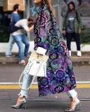 Women Vintage Floral Print Double Breasted Long Coat