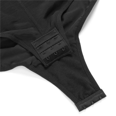 Fashion Black Straps Full Body Shapewear Hooks Half Sleeve Bodysuit