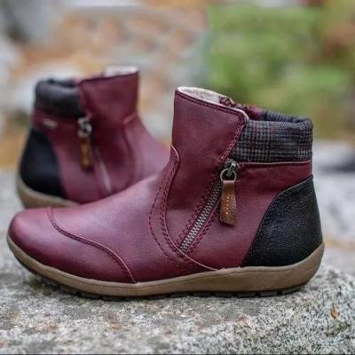 Women's Zipper Flat Heel Boots