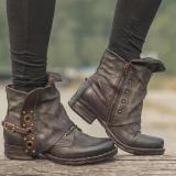 Women Motor Casual Chunky Heel Pu Zipper Spring/Fall Ankle Boots
