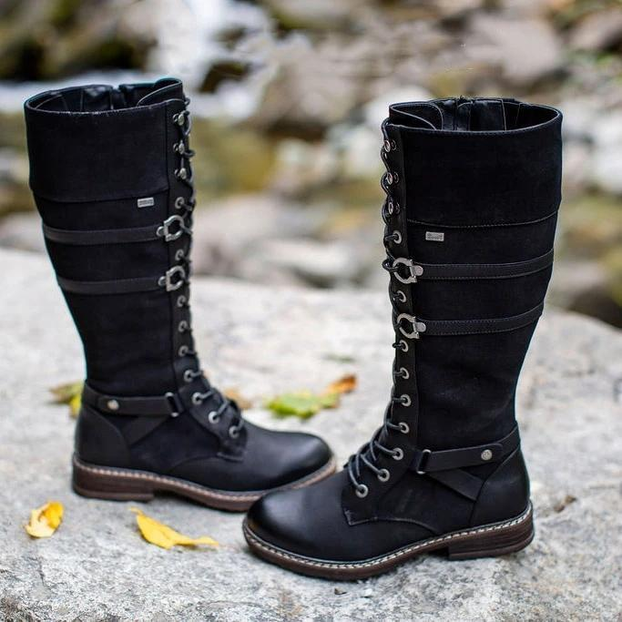 Women's Retro Casual Black Lace Up All-Match Comfortable Boots