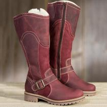 *Womens Winter Zipper Fur Mid-calf Warm Boots