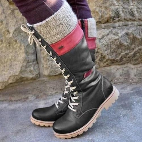 Vintage Lace Up Flat Heel Mid-calf Boots
