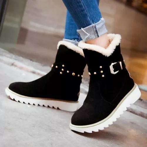 Women's Buckle Mid-Calf Boots