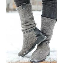 Comfortable Low Heel Suede Boots