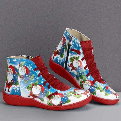 Christmas Gift | Print Flat Heel Lace Up Short Boots