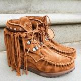 Fringed Spring And Autumn Autumn Faux Suede Boots
