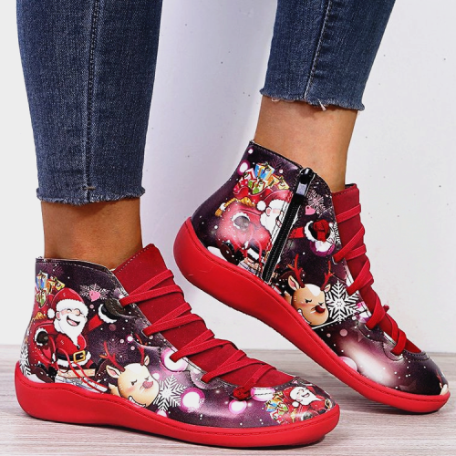 Christmas Gift |  Santa Claus Print Lace Up Flat Heel Boots