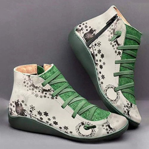 Christmas Gift | Side Zipper Ankle Boots Elastic Strap Printed Boot