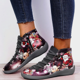 Christmas Gift    Santa Claus Print Lace Up Flat Heel Boots