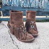 Autumn/Winter Tassel Fringe Metal Ring Trim Chunky Heels Ankle Boots