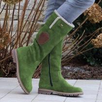 Fashion Flat Zipper Knee High Snow Boots
