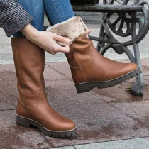Mid-Calf Boots Low Heel Boots
