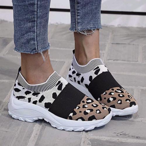 Leopard Combination Elastic Slip On Platform Sneakers