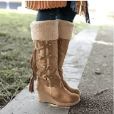 Women's Fashion Lace-Up Non-Slip Slope Heel And Velvet Snow Boots