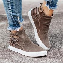 Women Zipper Buckle  Flat Heel Sneakers Boots