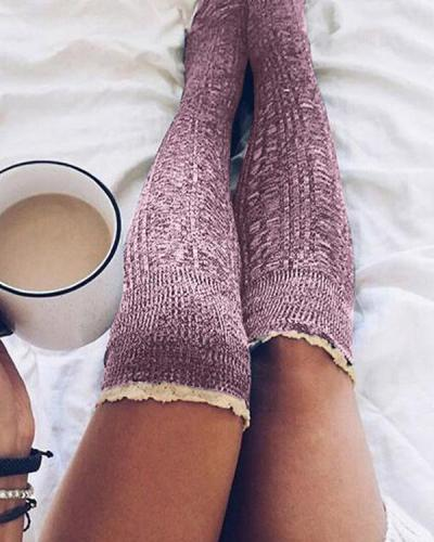 Over Knee Long Thigh High Lace Socks