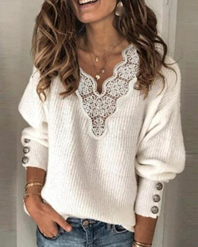 White Acrylic Plain Casual Sweater