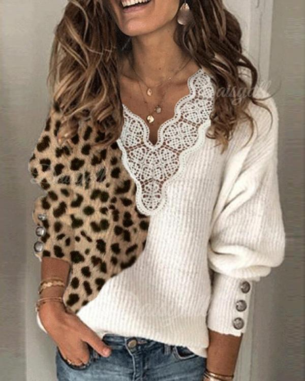 Women Leopard Lace V-Neck Casual Sweaters