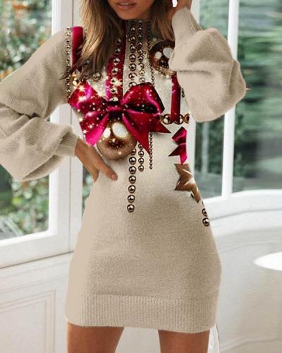 Ladies Fashion Christmas Printed Bodycon Dress