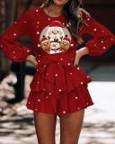 Ladies Sweet Christmas Bow-knot Ruffle Skirt Dress