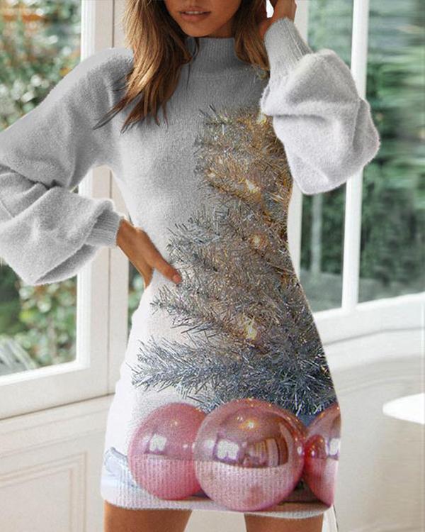 Ladies Christmas Graphic Bodycon Dress
