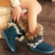 The Tube Snow Boots Cotton Shoes Fox Fur