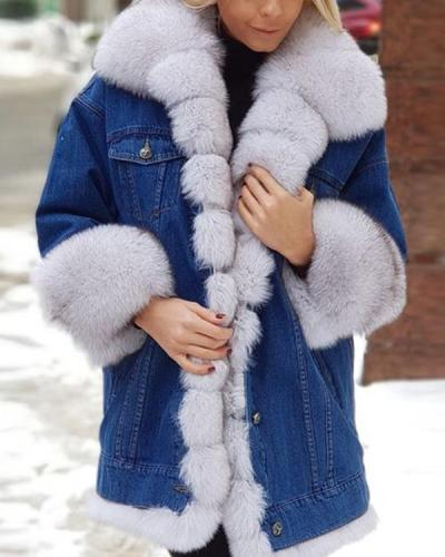 Long Sleeve Lapel Buttons Pockets Fur Coats