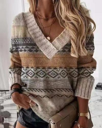 Bohemian Geometric Print Casual V Neck Sweater
