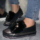 Women Adorable Faux Fur Rhinestone Boots