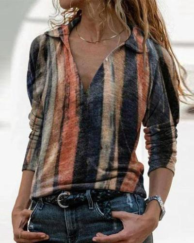 Long Sleeve Stripe Turn Down Collar Blouses