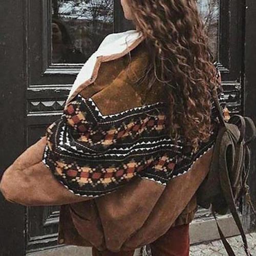 Women Casual Brown Coat